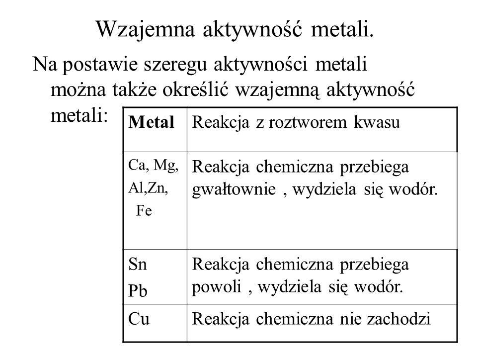 Wzajemna aktywność metali. Na postawie szeregu aktywności metali można także określić wzajemną aktywność metali: MetalReakcja z roztworem kwasu Ca, Mg