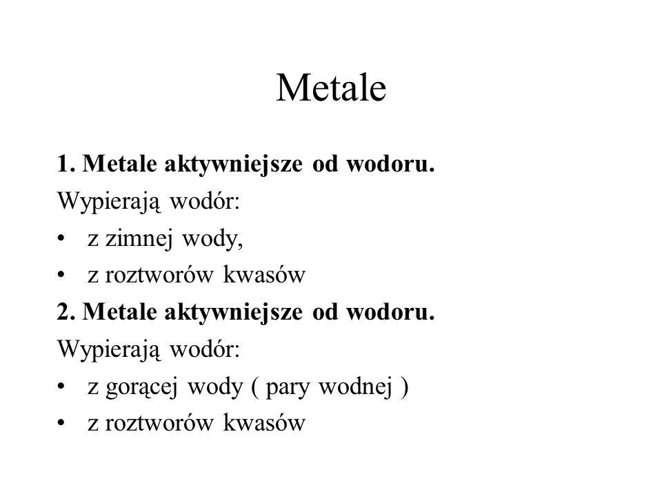 Metale 1. Metale aktywniejsze od wodoru. Wypierają wodór: z zimnej wody, z roztworów kwasów 2. Metale aktywniejsze od wodoru. Wypierają wodór: z gorąc