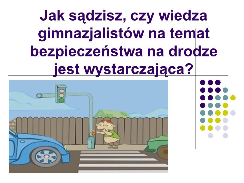 Jak sądzisz, czy wiedza gimnazjalistów na temat bezpieczeństwa na drodze jest wystarczająca?
