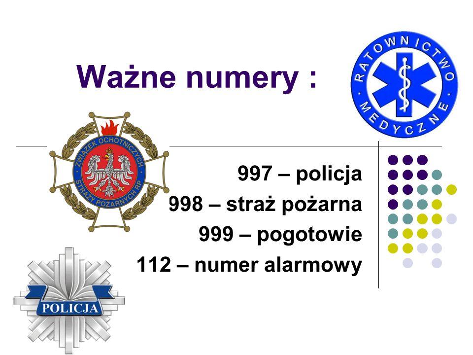 Ważne numery : 997 – policja 998 – straż pożarna 999 – pogotowie 112 – numer alarmowy