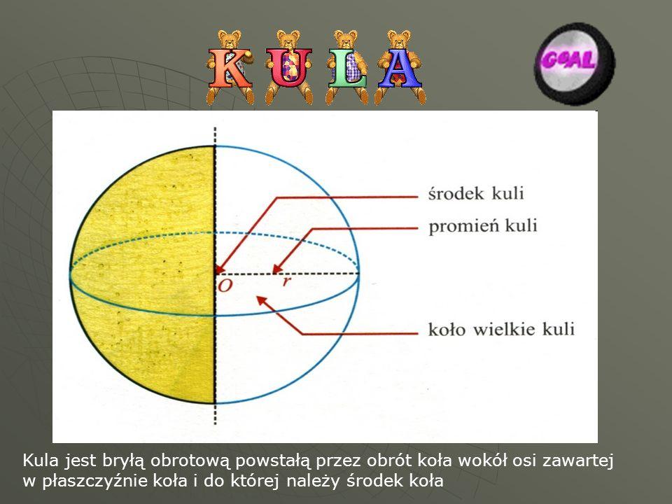 Kula jest bryłą obrotową powstałą przez obrót koła wokół osi zawartej w płaszczyźnie koła i do której należy środek koła