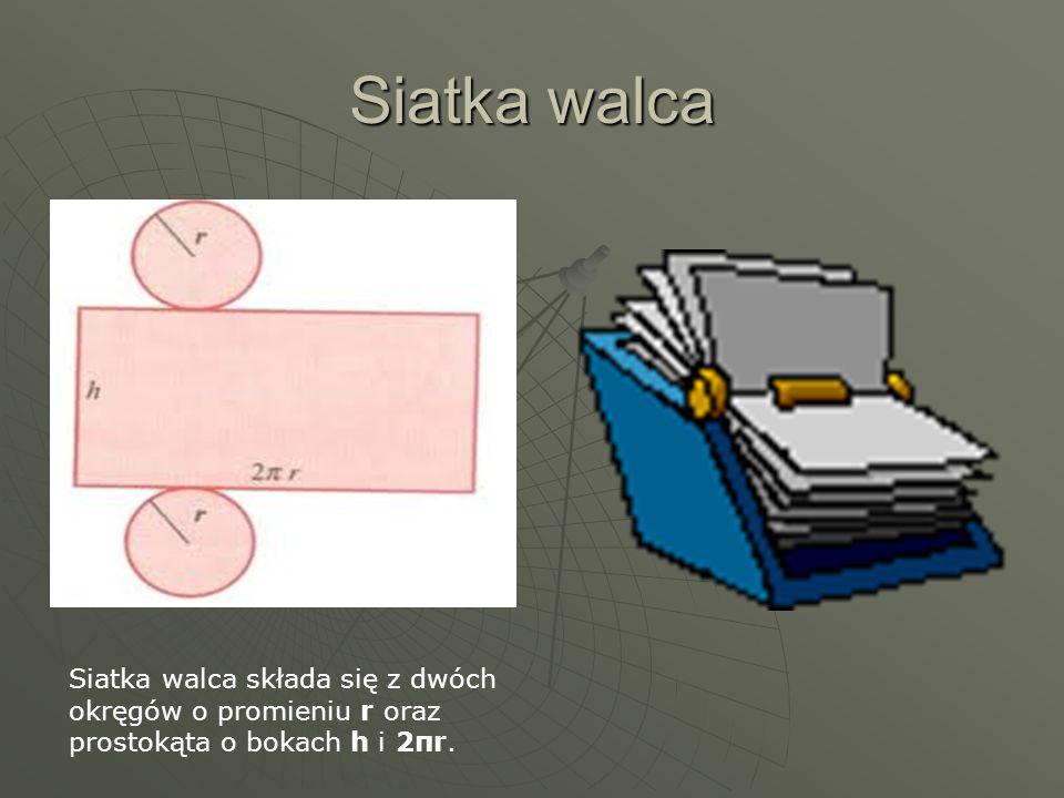 Siatka walca Siatka walca składa się z dwóch okręgów o promieniu r oraz prostokąta o bokach h i 2πr.