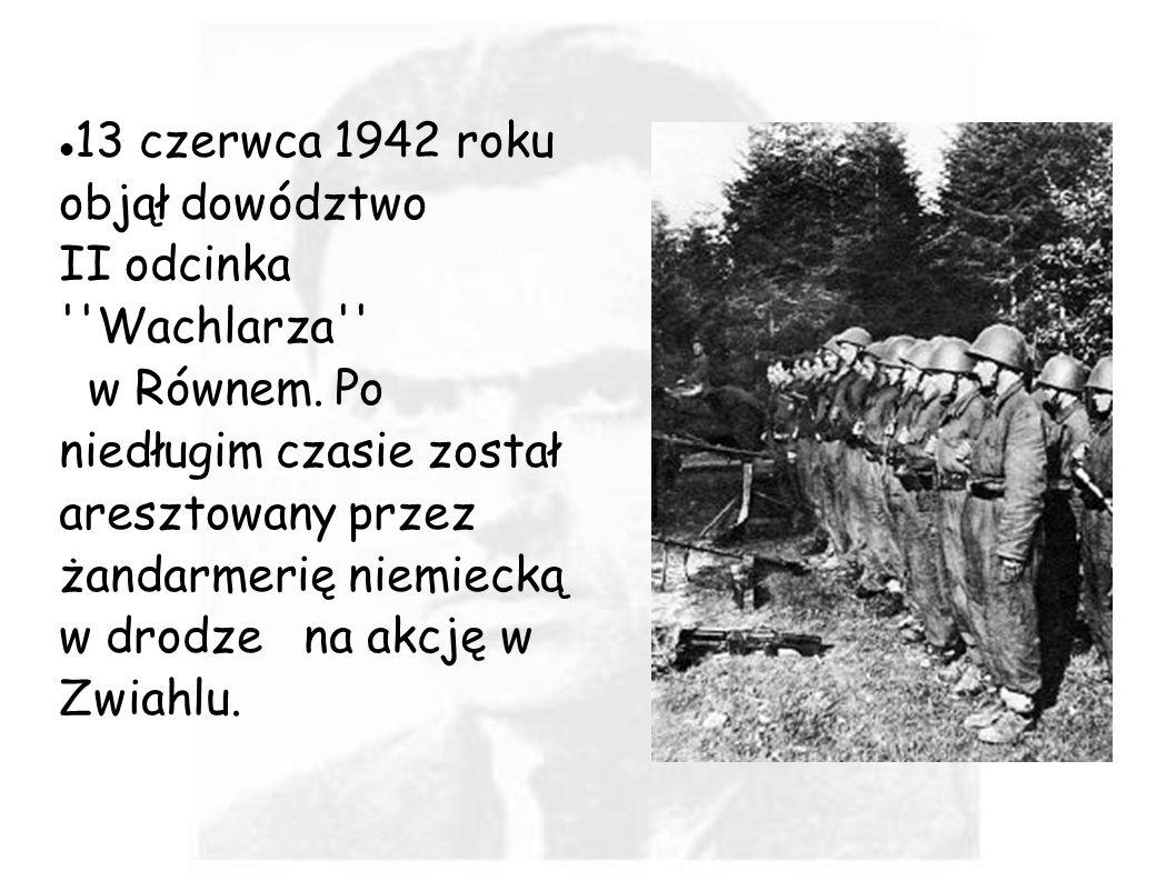 13 czerwca 1942 roku objął dowództwo II odcinka ''Wachlarza'' w Równem. Po niedługim czasie został aresztowany przez żandarmerię niemiecką w drodze na