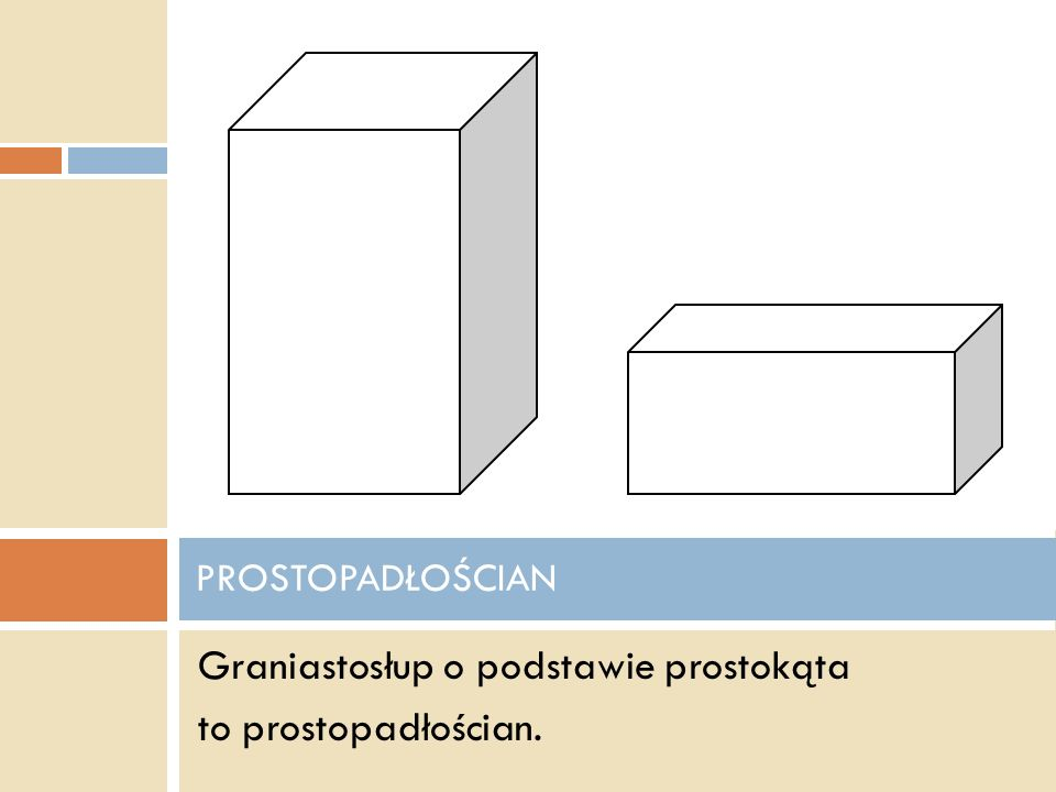 - mają dwie podstawy równoległe - ich boczne ściany są w kształcie prostokątów GRANIASTOSŁUPY PROSTE