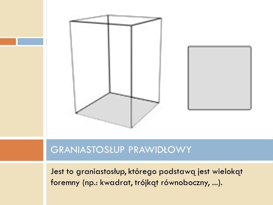 - Graniastosłup, w którym podstawy i ściany boczne są przystającymi kwadratami to sześcian. SZEŚCIAN