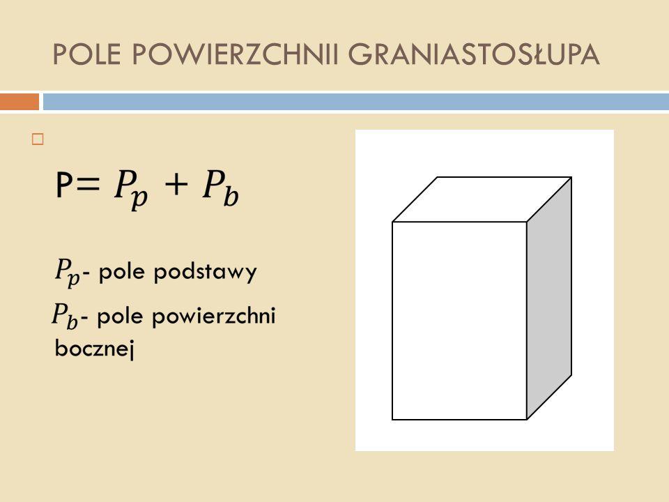 WYSOKOŚĆ GRANIASTOSŁUPA Wysokość graniastosłupa jest to odcinek łączący podstawy pod kątem prostym. Wysokość oznaczamy literą H