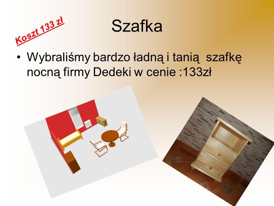 Szafka Wybraliśmy bardzo ładną i tanią szafkę nocną firmy Dedeki w cenie :133zł Koszt 133 zł