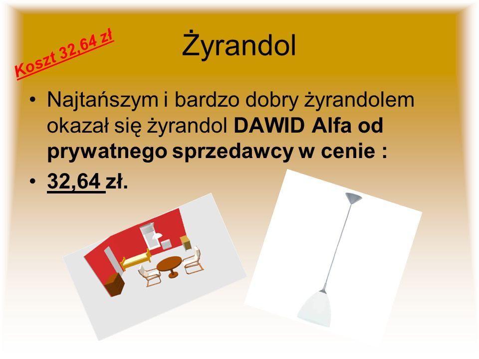 Żyrandol Najtańszym i bardzo dobry żyrandolem okazał się żyrandol DAWID Alfa od prywatnego sprzedawcy w cenie : 32,64 zł. Koszt 32,64 zł
