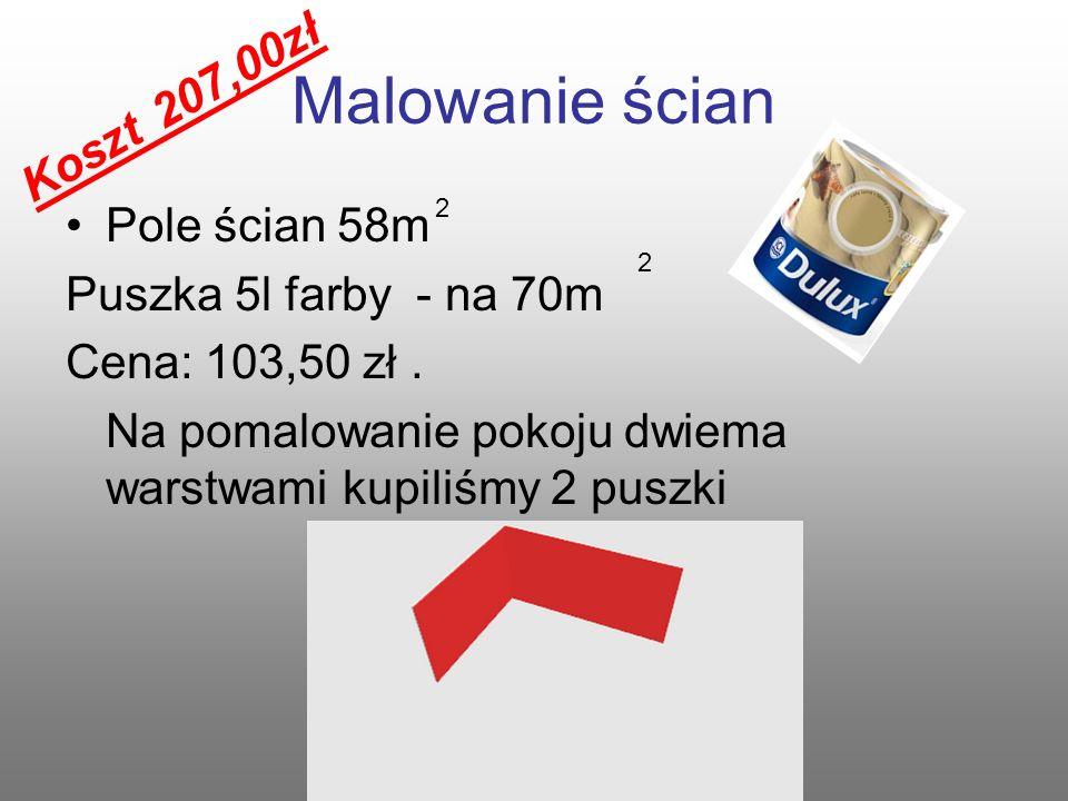 Malowanie sufitu Pole sufitu wynosi : 20m Puszka farby Dulux kosztuje 46,52 zł.
