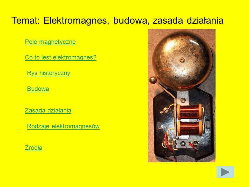 Temat: Elektromagnes, budowa, zasada działania Pole magnetyczne Co to jest elektromagnes? Rys historyczny Budowa Zasada działania Rodzaje elektromagne