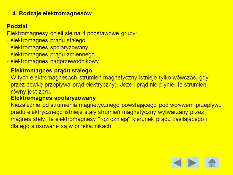 4. Rodzaje elektromagnesów Podział Elektromagnesy dzieli się na 4 podstawowe grupy: - elektromagnes prądu stałego - elektromagnes spolaryzowany - elek
