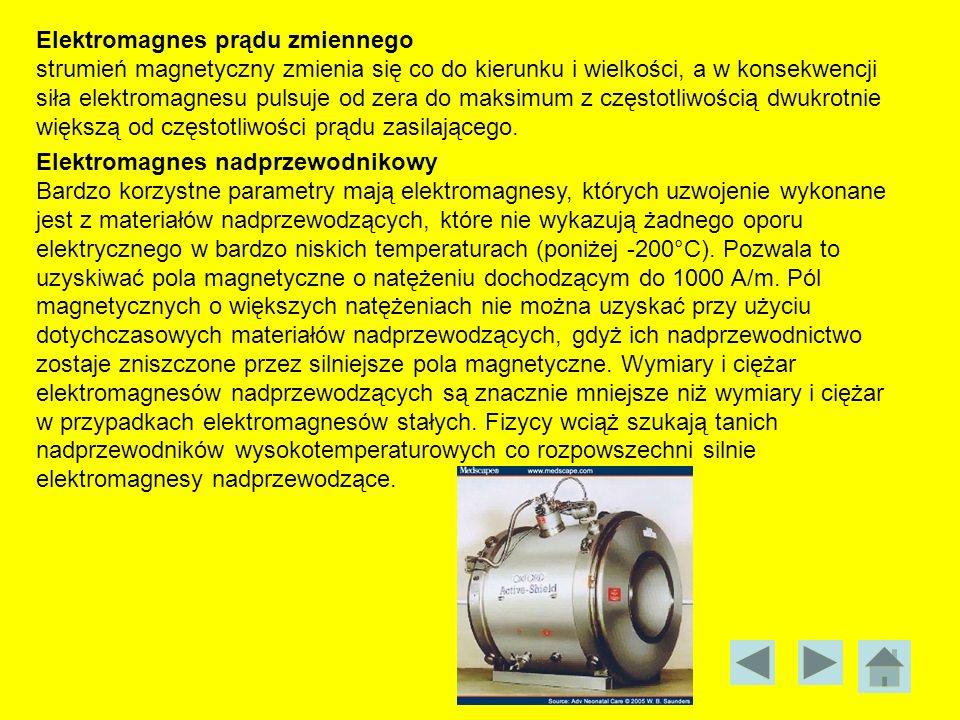 Elektromagnes prądu zmiennego strumień magnetyczny zmienia się co do kierunku i wielkości, a w konsekwencji siła elektromagnesu pulsuje od zera do mak