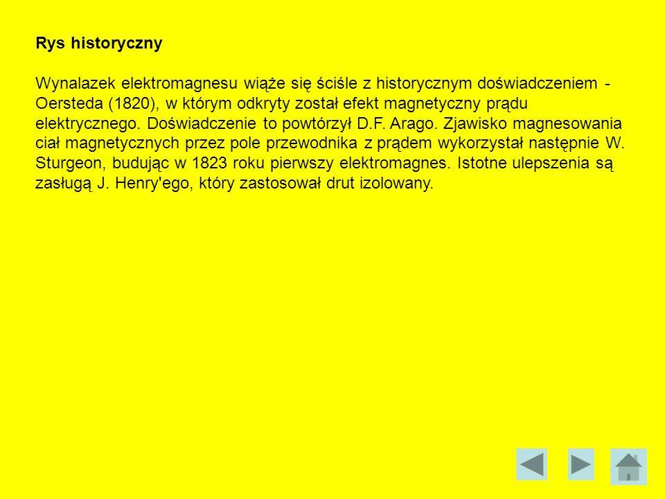 Rys historyczny Wynalazek elektromagnesu wiąże się ściśle z historycznym doświadczeniem - Oersteda (1820), w którym odkryty został efekt magnetyczny p