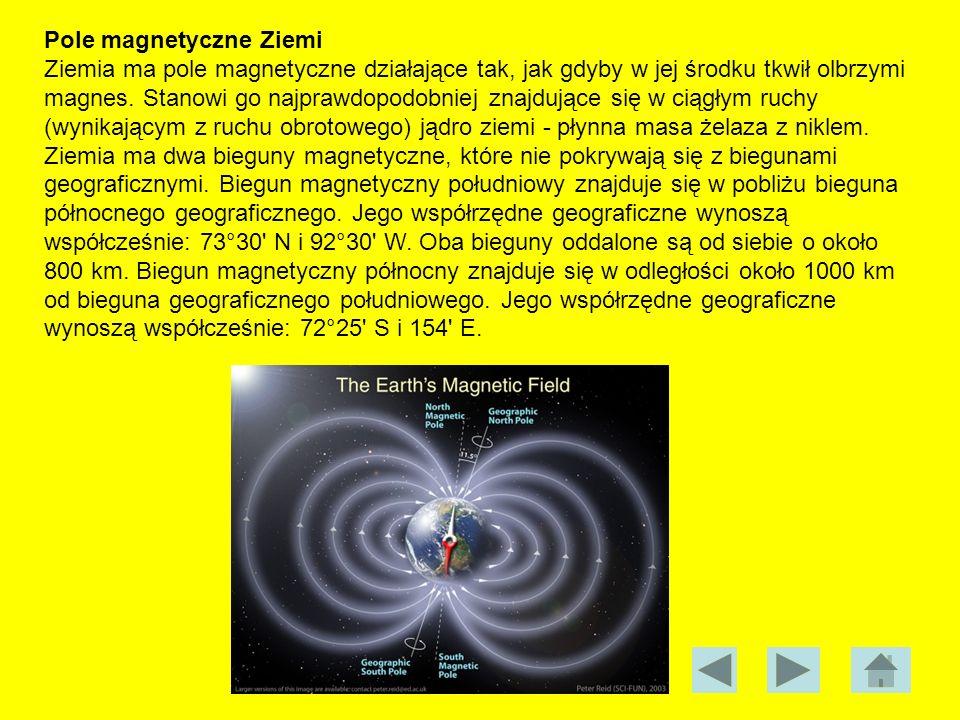 Pole magnetyczne Ziemi Ziemia ma pole magnetyczne działające tak, jak gdyby w jej środku tkwił olbrzymi magnes. Stanowi go najprawdopodobniej znajdują