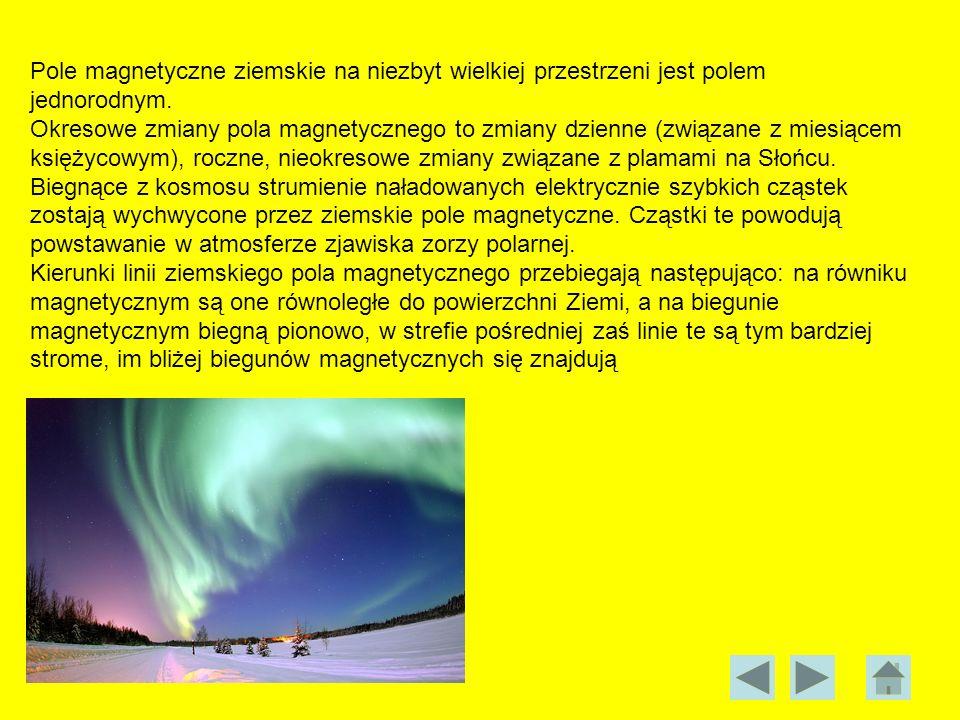 Pole magnetyczne ziemskie na niezbyt wielkiej przestrzeni jest polem jednorodnym. Okresowe zmiany pola magnetycznego to zmiany dzienne (związane z mie