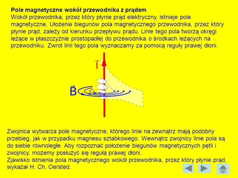 Pole magnetyczne wokół przewodnika z prądem Wokół przewodnika, przez który płynie prąd elektryczny, istnieje pole magnetyczne. Ułożenie biegunów pola