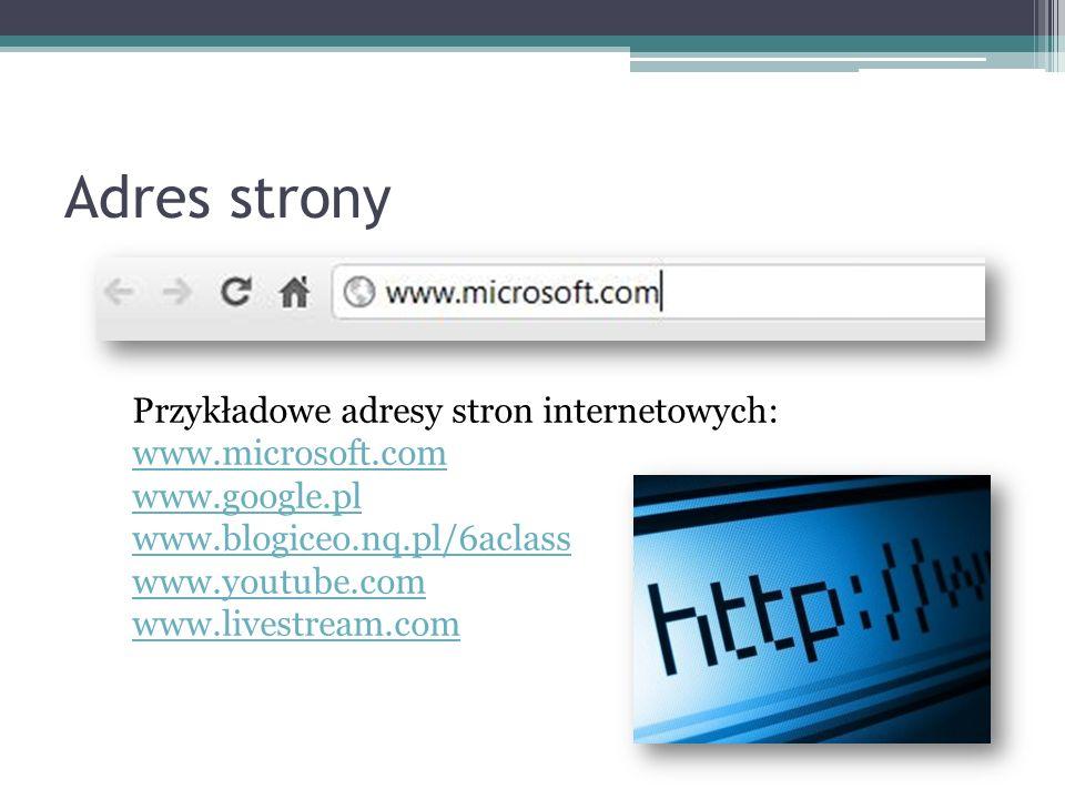 Adres strony Przykładowe adresy stron internetowych: www.microsoft.com www.google.pl www.blogiceo.nq.pl/6aclass www.youtube.com www.livestream.com
