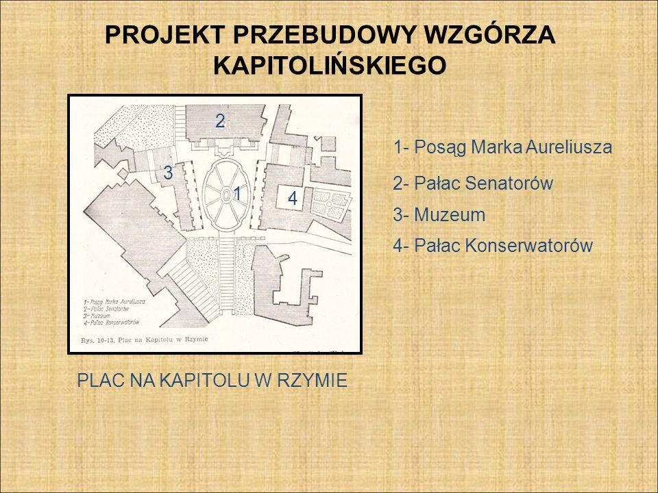 PROJEKT PRZEBUDOWY WZGÓRZA KAPITOLIŃSKIEGO PLAC NA KAPITOLU W RZYMIE 1 1- Posąg Marka Aureliusza 2- Pałac Senatorów 2 3 4 3- Muzeum 4- Pałac Konserwat