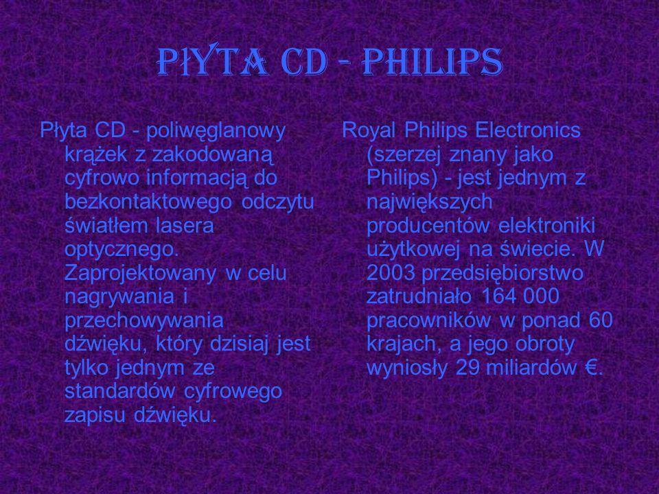 Płyta CD - poliwęglanowy krążek z zakodowaną cyfrowo informacją do bezkontaktowego odczytu światłem lasera optycznego. Zaprojektowany w celu nagrywani