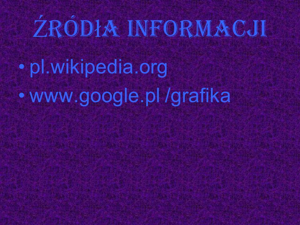 Ź ród ł a informacji pl.wikipedia.org www.google.pl /grafika