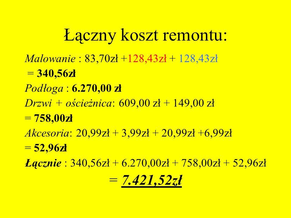 Łączny koszt remontu: Malowanie : 83,70zł +128,43zł + 128,43zł = 340,56zł Podłoga : 6.270,00 zł Drzwi + ościeżnica: 609,00 zł + 149,00 zł = 758,00zł A