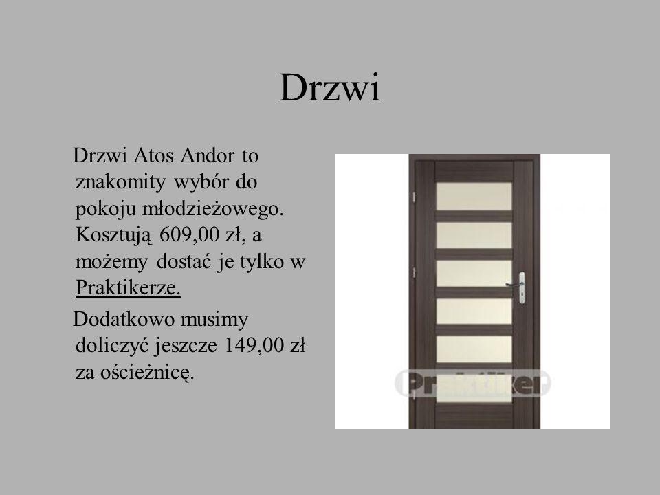 Drzwi Drzwi Atos Andor to znakomity wybór do pokoju młodzieżowego. Kosztują 609,00 zł, a możemy dostać je tylko w Praktikerze. Dodatkowo musimy dolicz