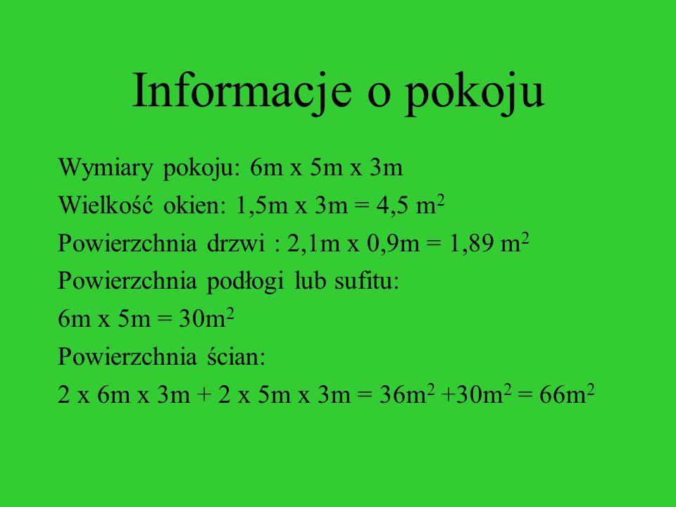 Informacje o pokoju Wymiary pokoju: 6m x 5m x 3m Wielkość okien: 1,5m x 3m = 4,5 m 2 Powierzchnia drzwi : 2,1m x 0,9m = 1,89 m 2 Powierzchnia podłogi