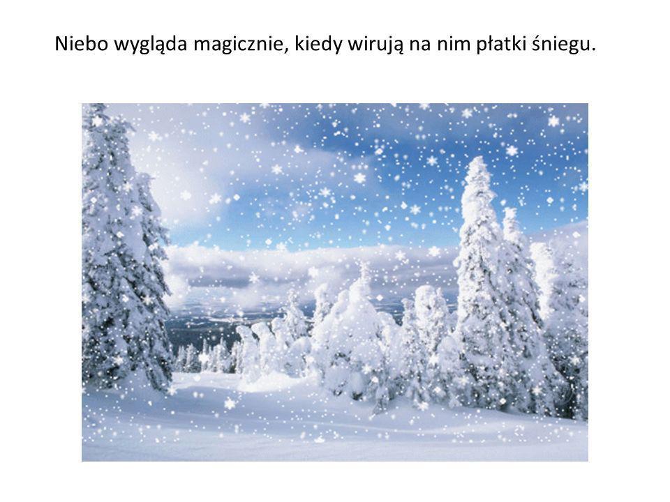 Cieplejsze powietrze, zawierające więcej wilgoci daje śnieg o dużych mokrych płatkach.