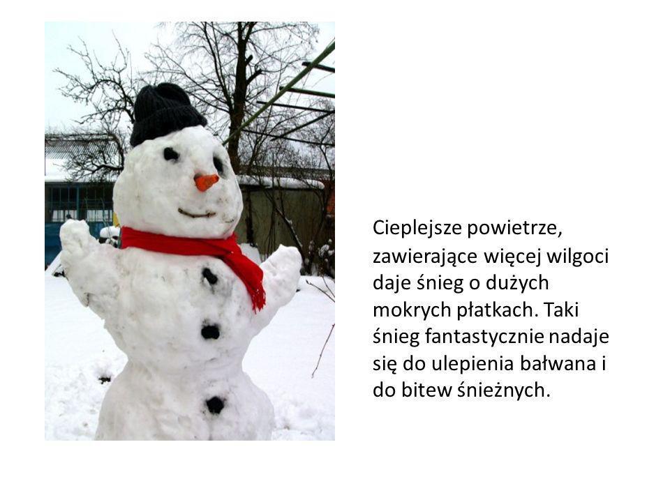 Cieplejsze powietrze, zawierające więcej wilgoci daje śnieg o dużych mokrych płatkach. Taki śnieg fantastycznie nadaje się do ulepienia bałwana i do b