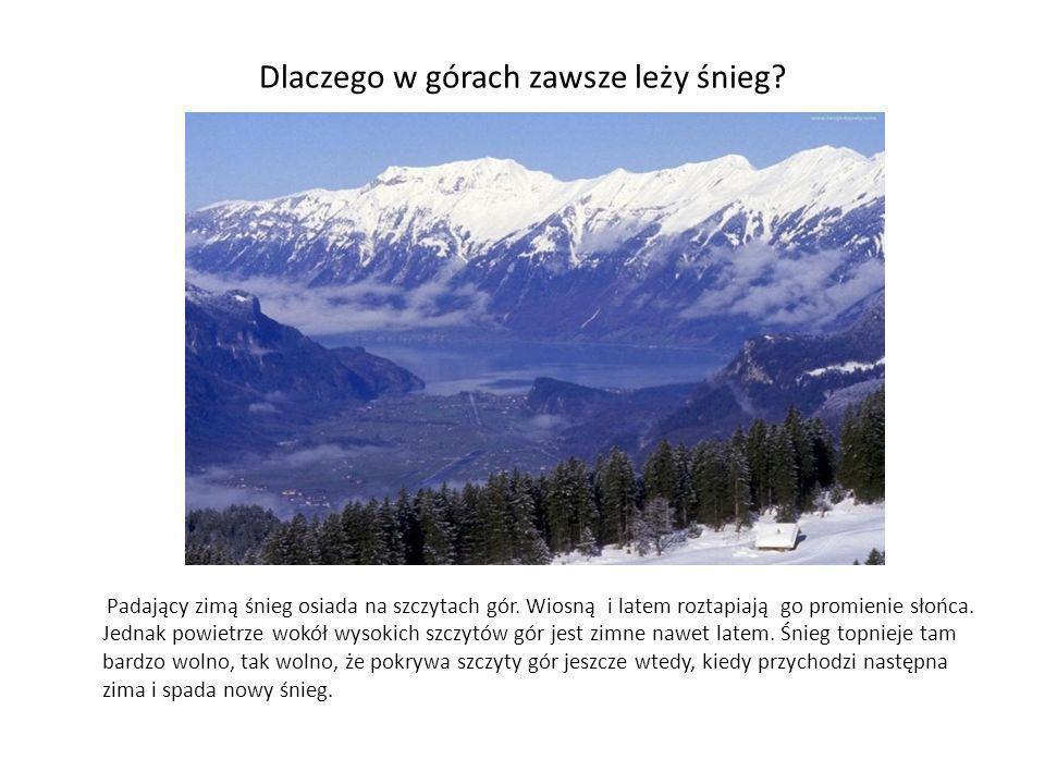 Dlaczego w górach zawsze leży śnieg? Padający zimą śnieg osiada na szczytach gór. Wiosną i latem roztapiają go promienie słońca. Jednak powietrze wokó