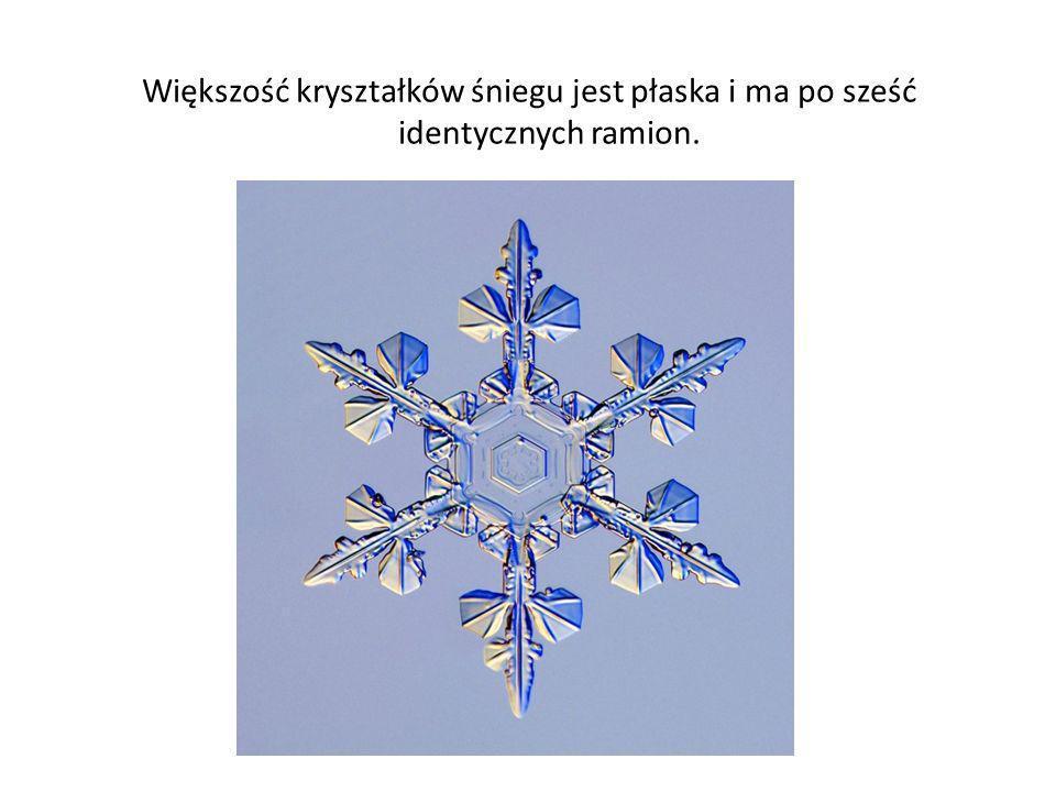 Większość kryształków śniegu jest płaska i ma po sześć identycznych ramion.
