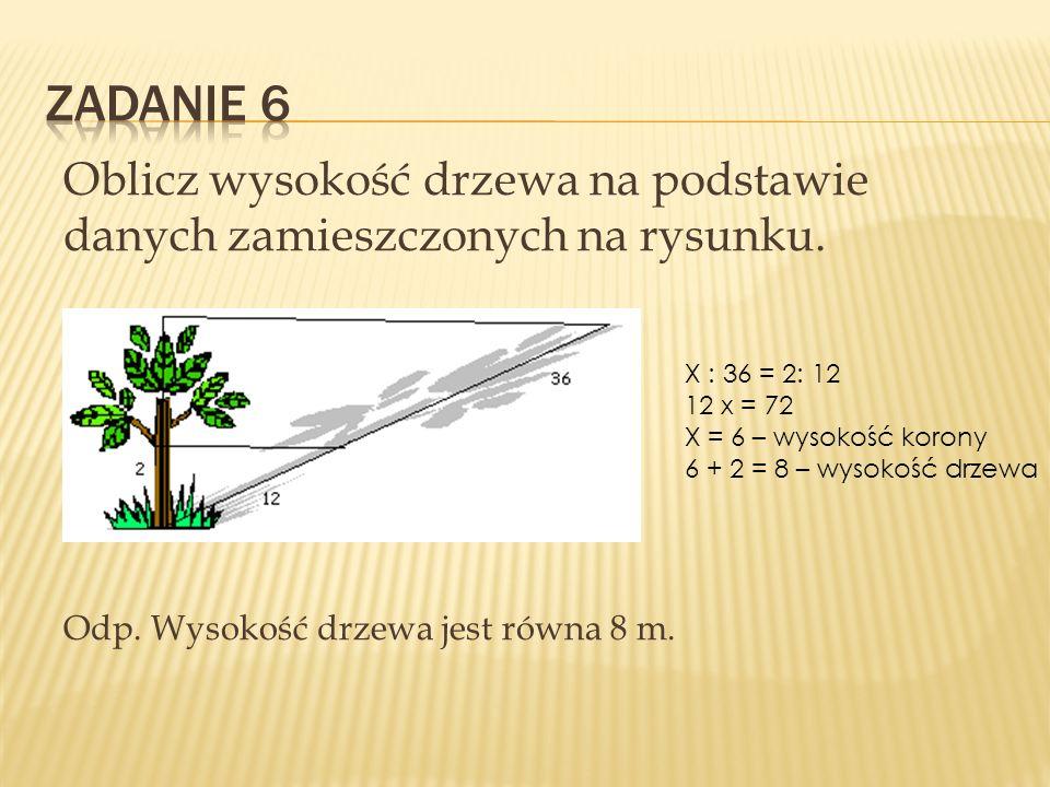 Oblicz wysokość drzewa na podstawie danych zamieszczonych na rysunku. Odp. Wysokość drzewa jest równa 8 m. X : 36 = 2: 12 12 x = 72 X = 6 – wysokość k