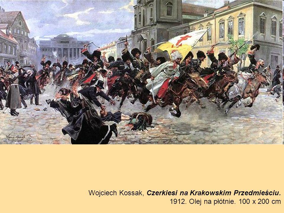 Wojciech Kossak, Czerkiesi na Krakowskim Przedmieściu. 1912. Olej na płótnie. 100 x 200 cm