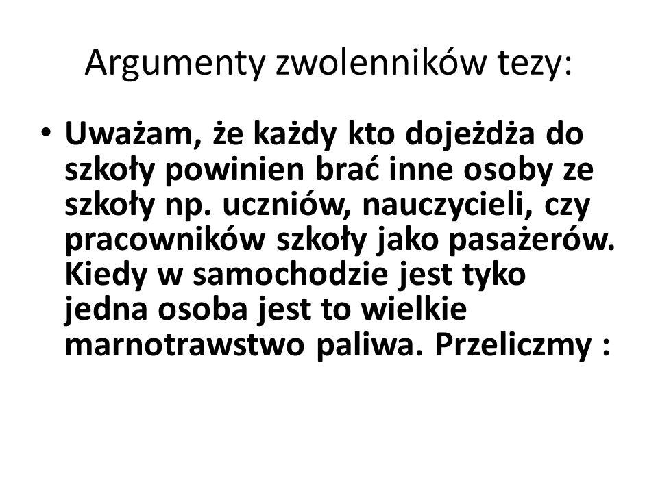 Argumenty zwolenników tezy: Uważam, że każdy kto dojeżdża do szkoły powinien brać inne osoby ze szkoły np.