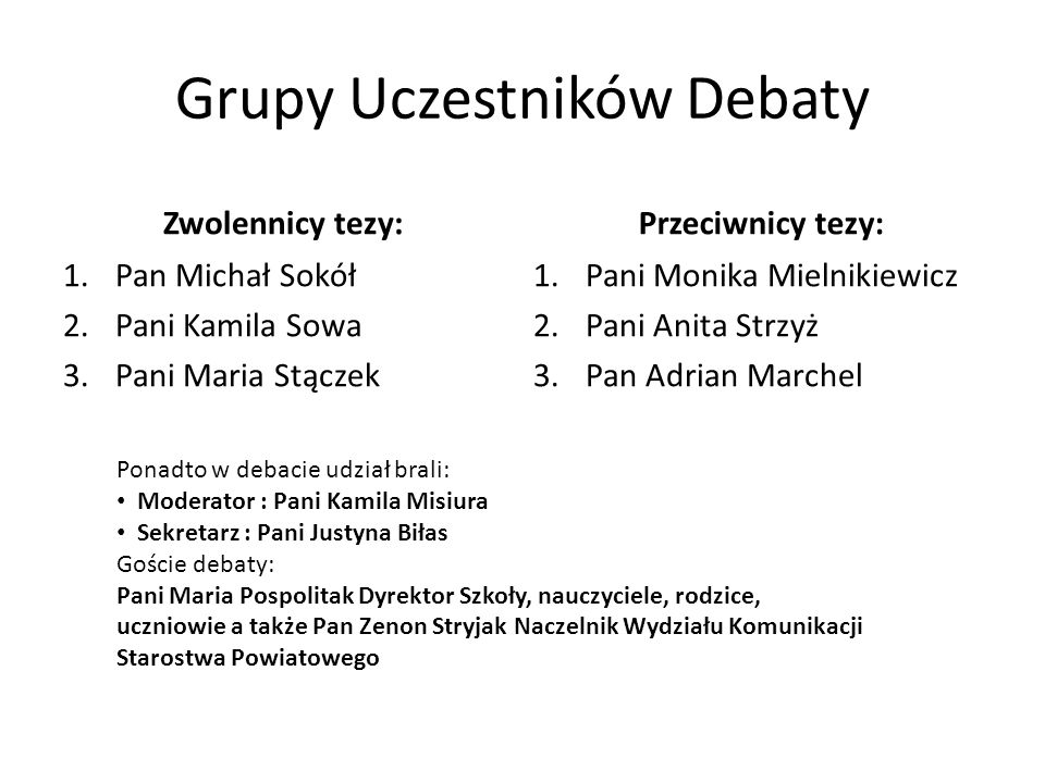 Opinie uczestników debaty
