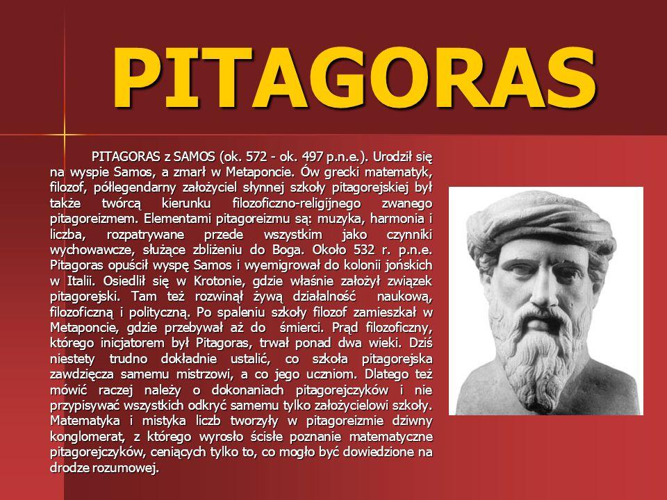 PITAGORAS PITAGORAS z SAMOS (ok. 572 - ok. 497 p.n.e.). Urodził się na wyspie Samos, a zmarł w Metaponcie. Ów grecki matematyk, filozof, półlegendarny