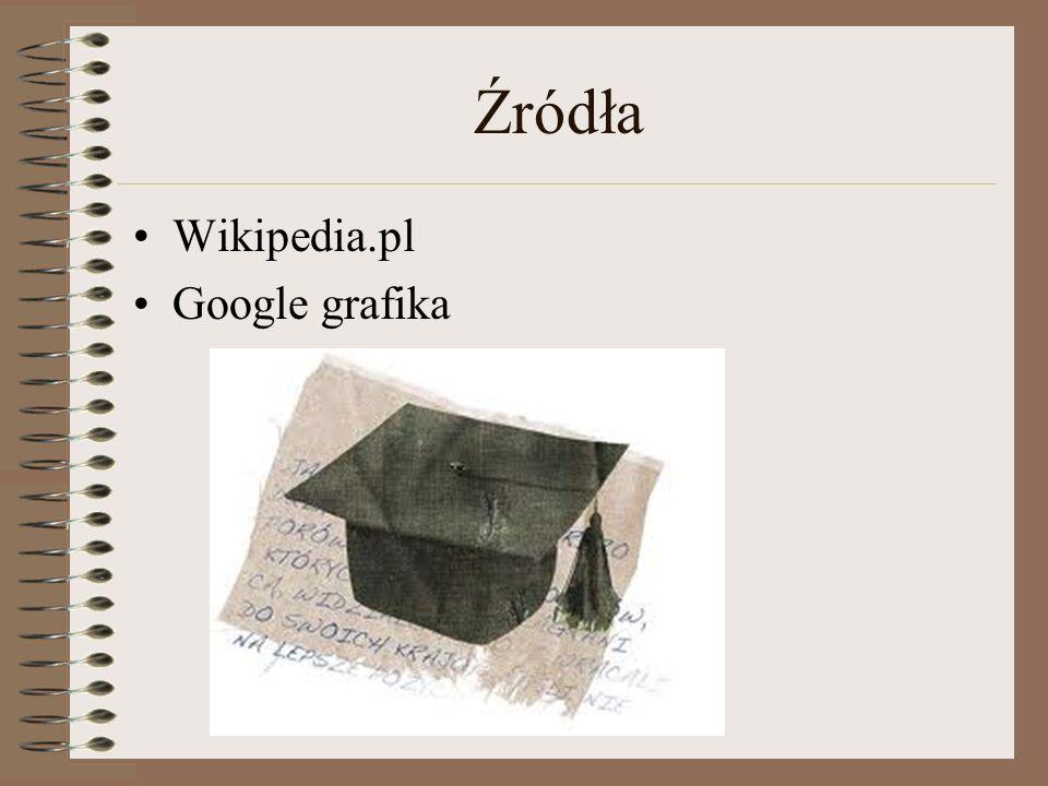 Źródła Wikipedia.pl Google grafika