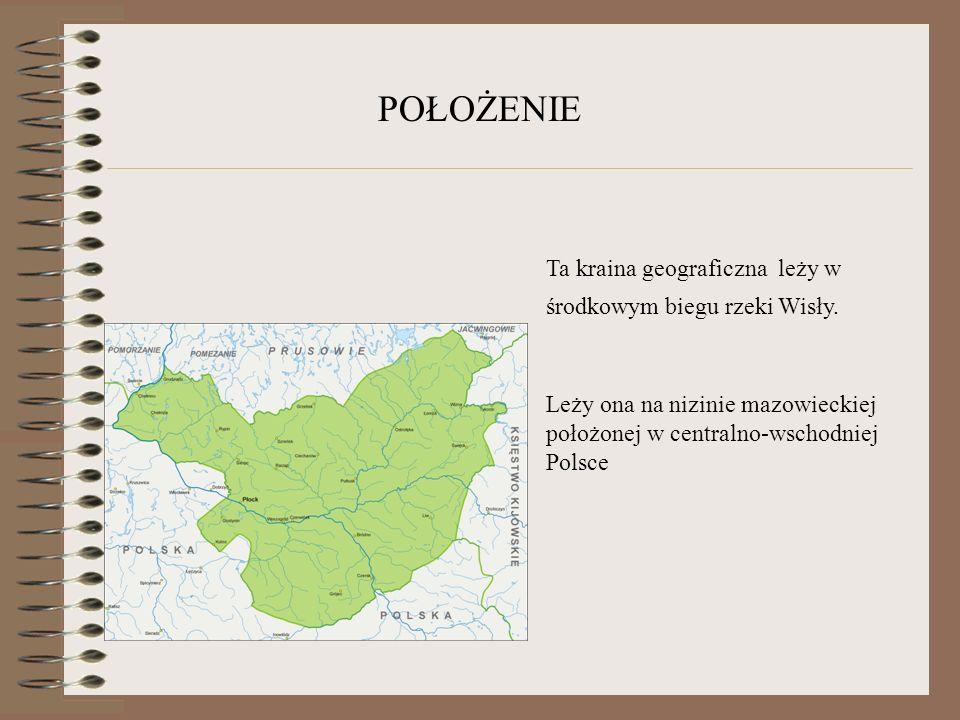 POŁOŻENIE Ta kraina geograficzna leży w środkowym biegu rzeki Wisły. Leży ona na nizinie mazowieckiej położonej w centralno-wschodniej Polsce