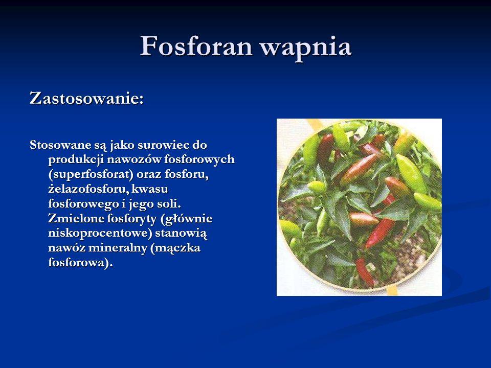 Fosforan wapnia Zastosowanie: Stosowane są jako surowiec do produkcji nawozów fosforowych (superfosforat) oraz fosforu, żelazofosforu, kwasu fosforowe