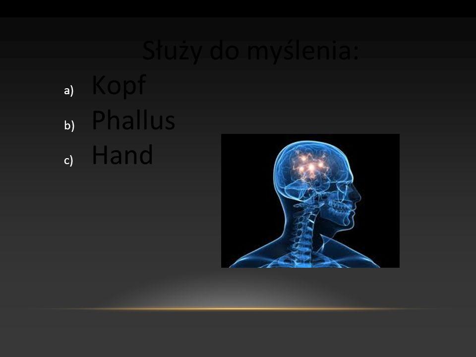 Służy do myślenia: a) Kopf b) Phallus c) Hand