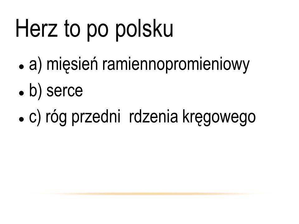 Herz to po polsku a) mięsień ramiennopromieniowy b) serce c) róg przedni rdzenia kręgowego