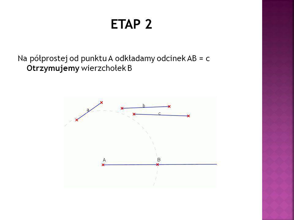 Na półprostej od punktu A odkładamy odcinek AB = c Otrzymujemy wierzchołek B