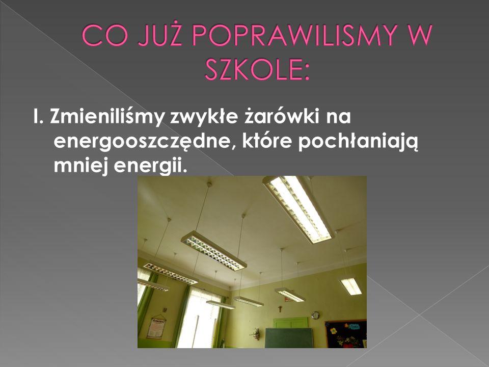 I. Zmieniliśmy zwykłe żarówki na energooszczędne, które pochłaniają mniej energii.