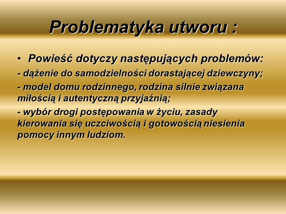 Problematyka utworu : Powieść dotyczy następujących problemów:Powieść dotyczy następujących problemów: - dążenie do samodzielności dorastającej dziewc