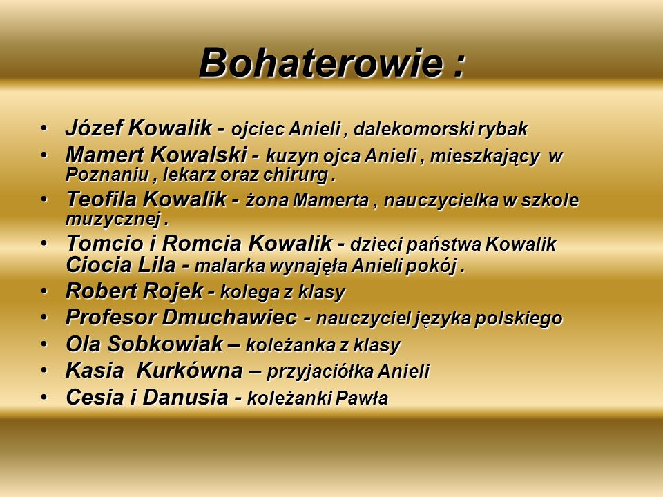 Bohaterowie : Józef Kowalik - ojciec Anieli, dalekomorski rybakJózef Kowalik - ojciec Anieli, dalekomorski rybak Mamert Kowalski - kuzyn ojca Anieli,