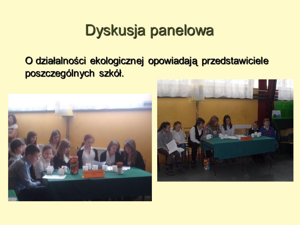 Dyskusja panelowa O działalności ekologicznej opowiadają przedstawiciele poszczególnych szkół.