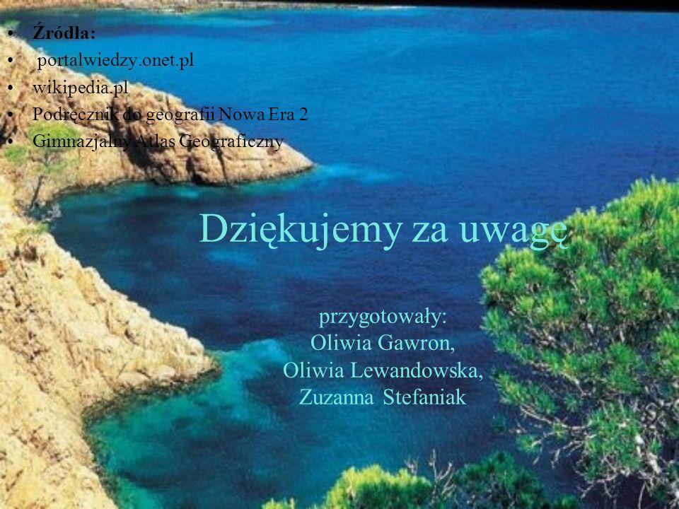 Dziękujemy za uwagę przygotowały: Oliwia Gawron, Oliwia Lewandowska, Zuzanna Stefaniak Źródła: portalwiedzy.onet.pl wikipedia.pl Podręcznik do geograf