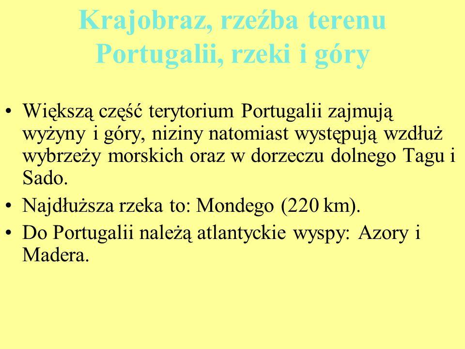Krajobraz, rzeźba terenu Portugalii, rzeki i góry Większą część terytorium Portugalii zajmują wyżyny i góry, niziny natomiast występują wzdłuż wybrzeż
