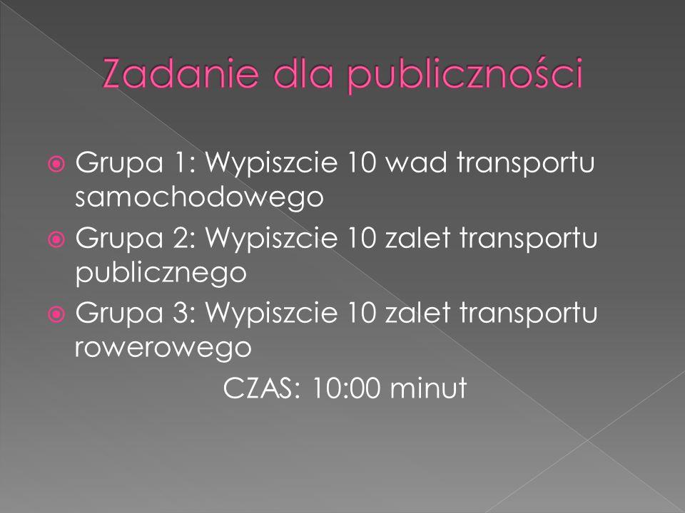 Grupa 1: Wypiszcie 10 wad transportu samochodowego Grupa 2: Wypiszcie 10 zalet transportu publicznego Grupa 3: Wypiszcie 10 zalet transportu roweroweg