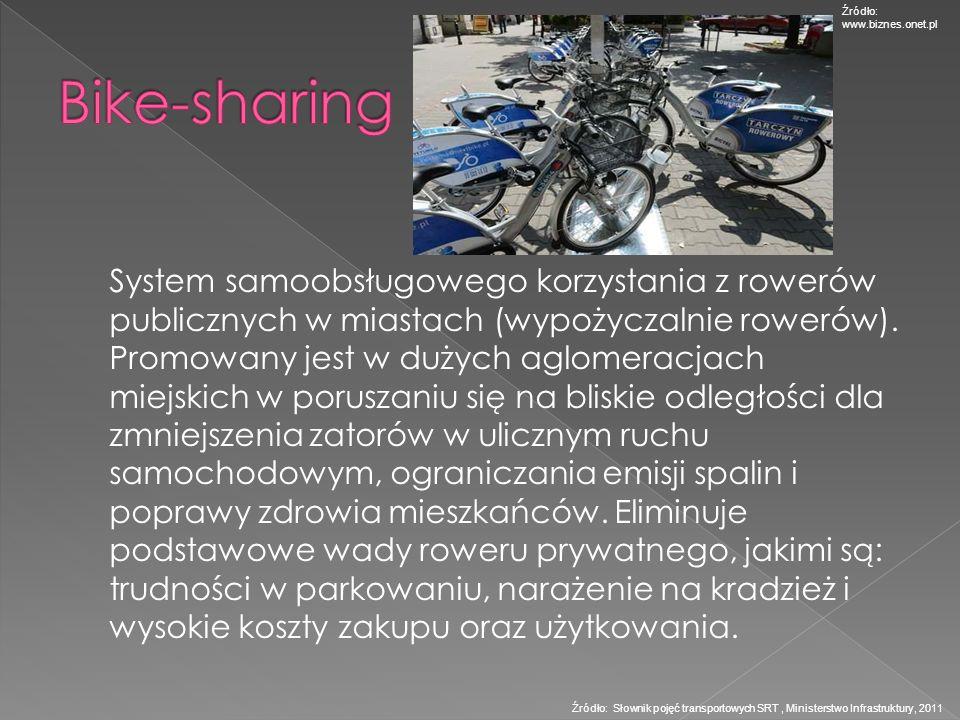 System samoobsługowego korzystania z rowerów publicznych w miastach (wypożyczalnie rowerów). Promowany jest w dużych aglomeracjach miejskich w porusza